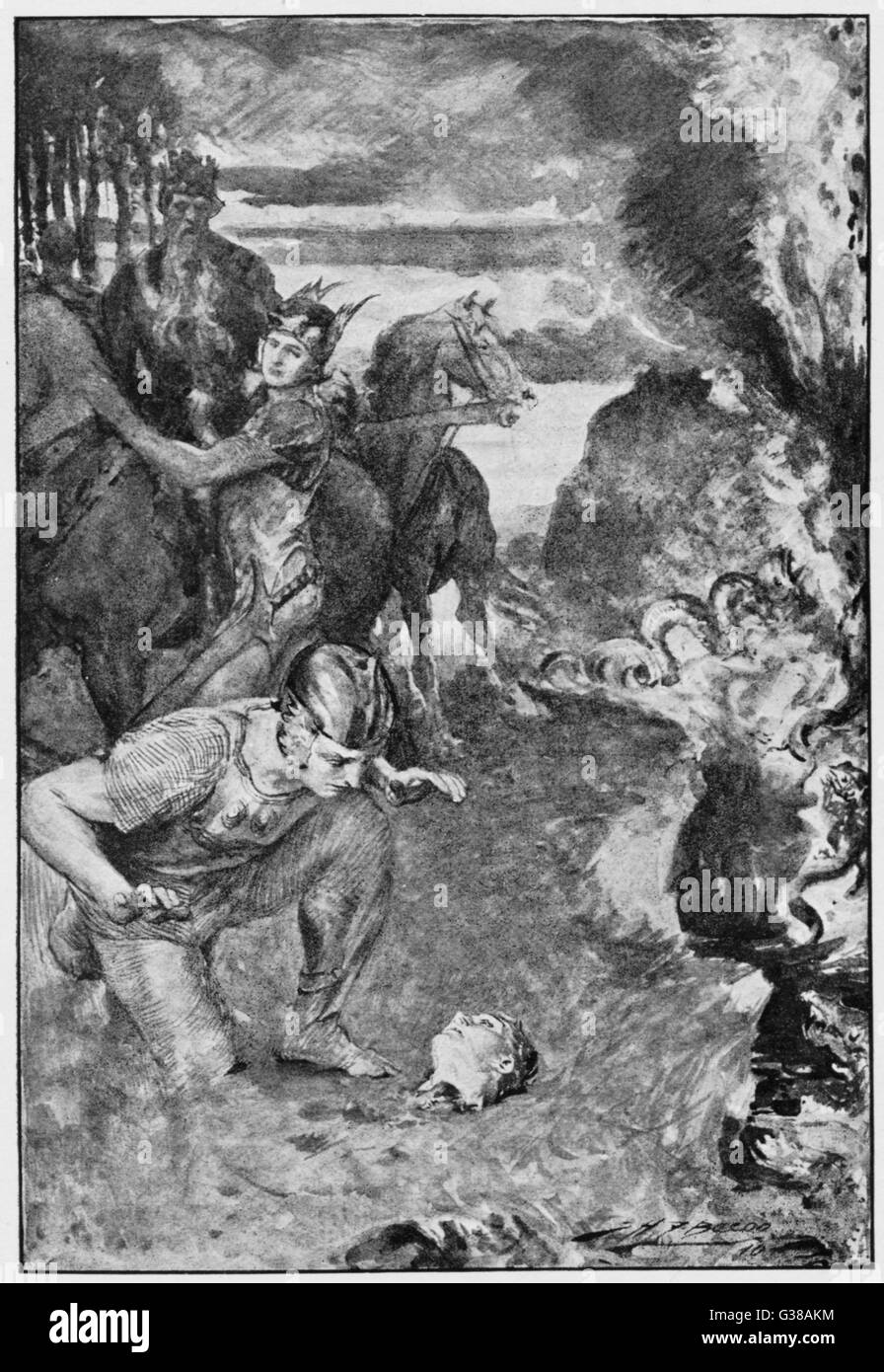 Beowulf finds the severed head  of his comrade Aschere (a  victim of Grendel the  monster). - Stock Image