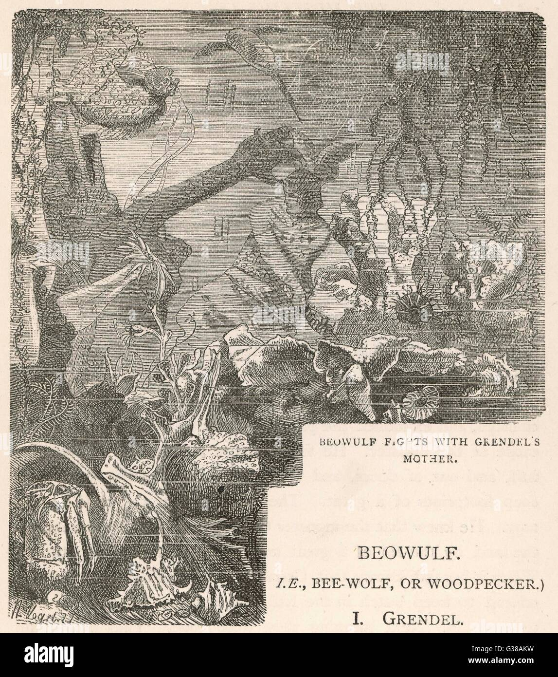 Beowulf has an underwater  fight with the mother of the  monster Grendel. - Stock Image