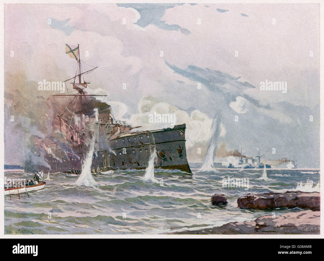 The Russian cruiser 'Novik' is  sunk by the Japanese cruiser  'Tschitole'        Date: 1904 - Stock Image