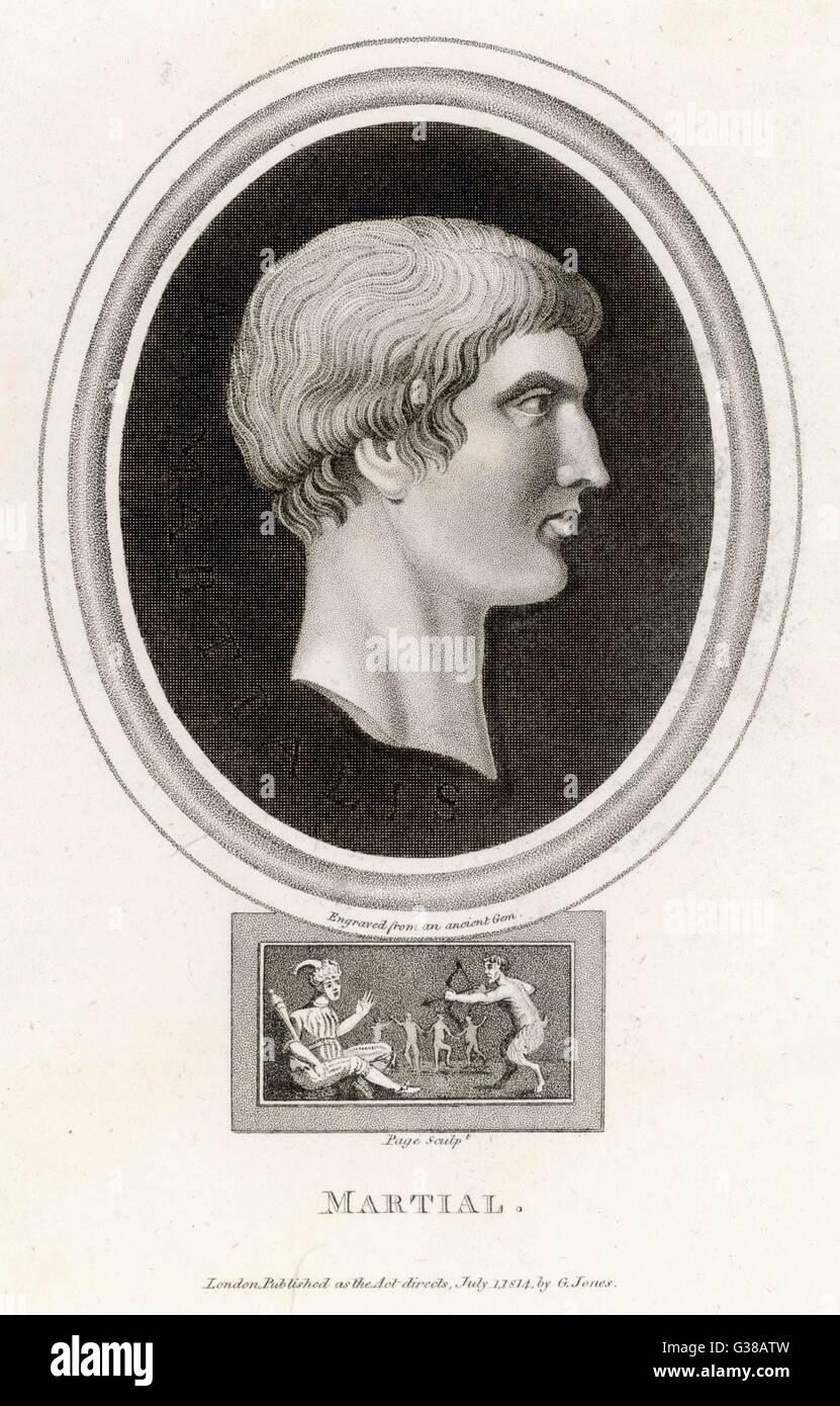 MARCUS VALERIUS MARTIAL -  Roman poet        Date: 43 - 103 - Stock Image