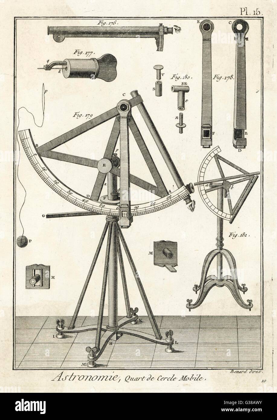 An astronomical quadrant         Date: 1760 - Stock Image
