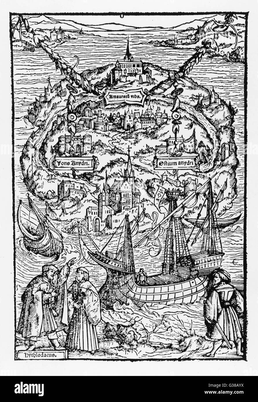 The imaginary island of  UTOPIA, as described by Sir  Thomas More       Date: 1518 - Stock Image