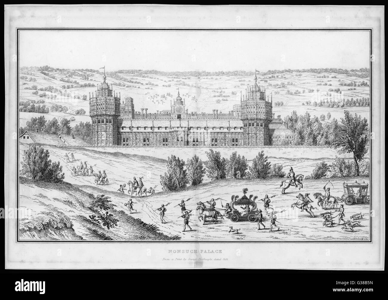 The palace as seen during the  reign of Elizabeth I         Date: 1582 - Stock Image