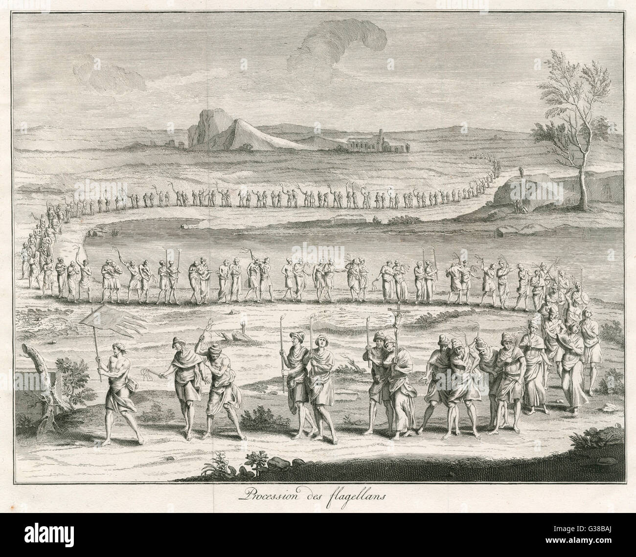 Procession of flagellants  during the Middle Ages - Stock Image