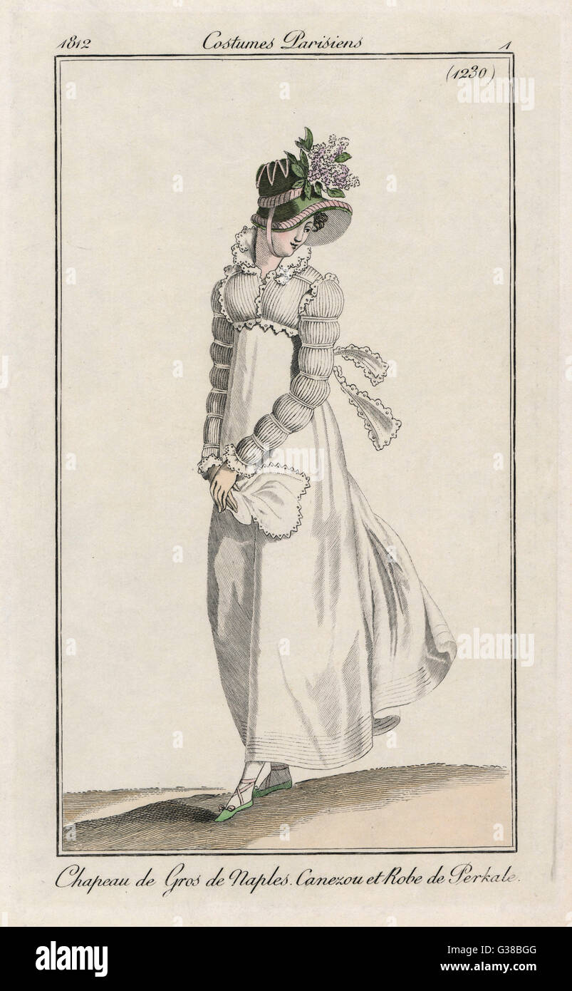 White muslin dress worn with  white spencer trimmed with  decorative edging. The sleeves  have 7 divisions and are - Stock Image