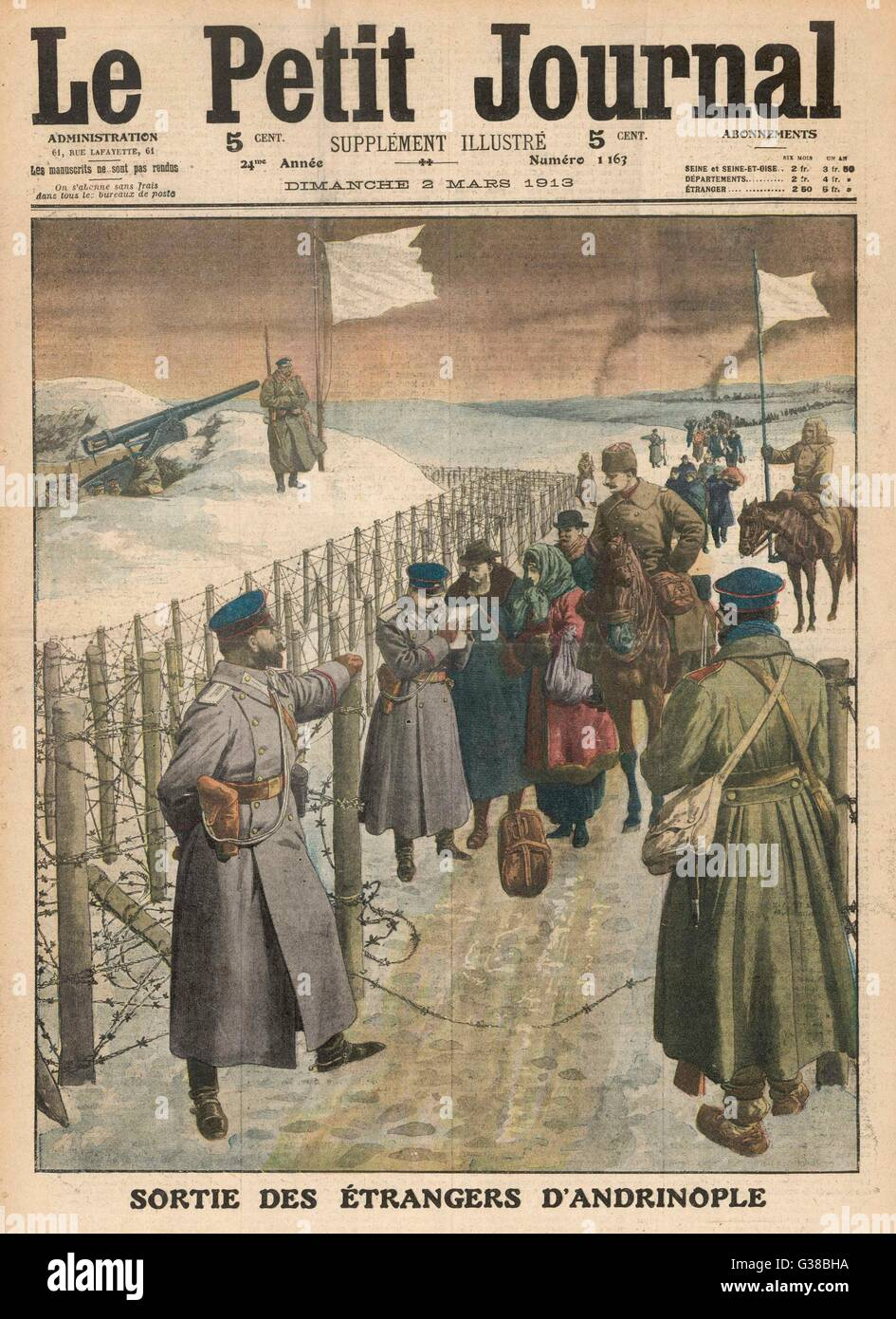 BULGARIA / TURKEY The Bulgarians reluctantly  allow foreigners to leave the Turkish city of Edirne  (formerly Adrianople) - Stock Image