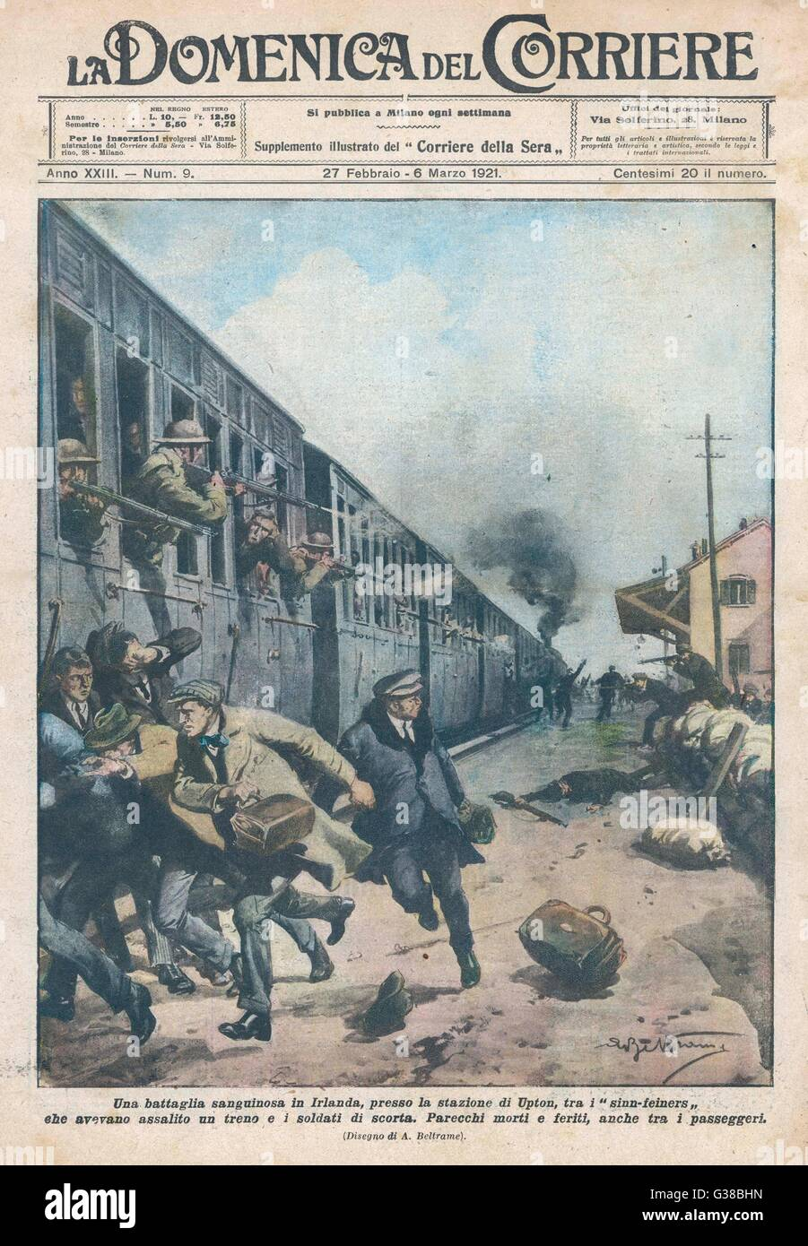 SINN FEIN TERRORISM At Upton station, members of  Sinn Fein fire on a railway  train, killing troops and  civilians - Stock Image