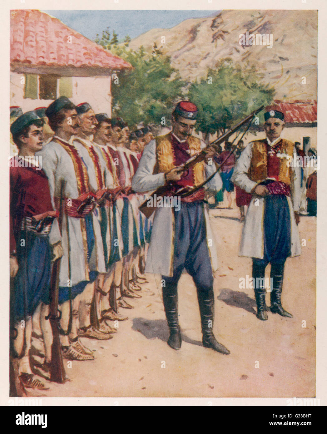 Montengro soldiers at their  weekly drill and inspection  of weapons       Date: 1913 - Stock Image