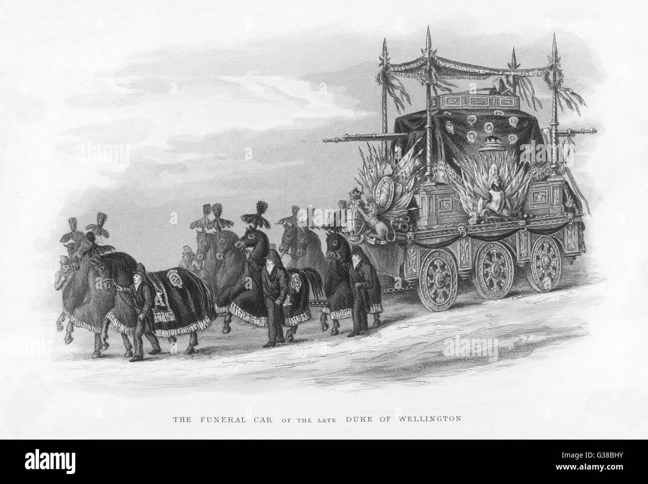 The funeral car which carried the corpse of the Duke of Wellington to its final resting-place in St Paul's cathedral, - Stock Image
