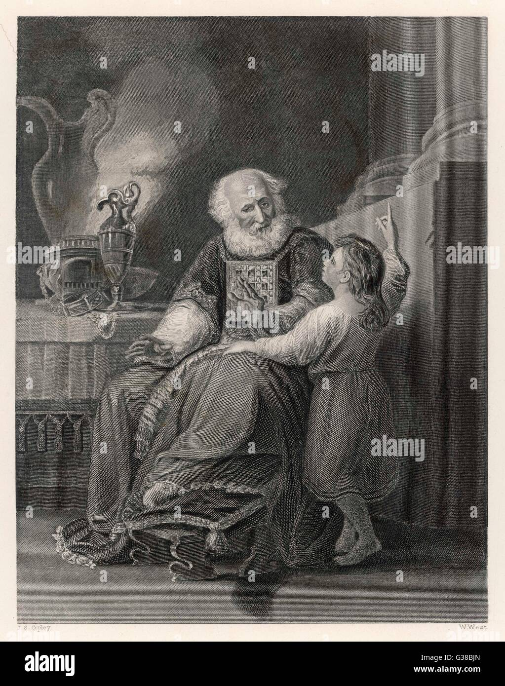 Samuel is trained by Eli the  priest at Shiloh - Stock Image