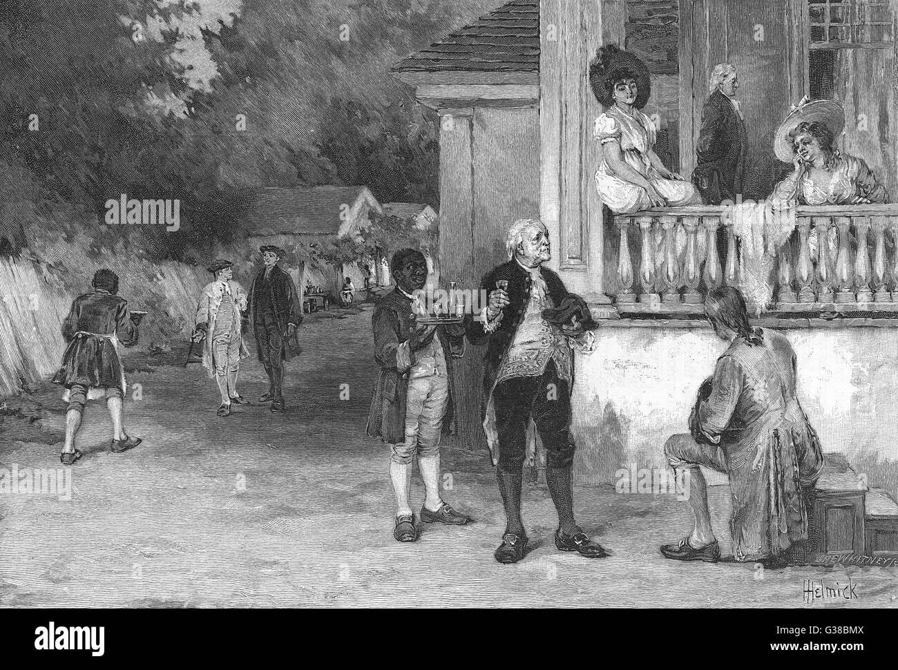 'Kentucky hospitality in the  olden time'        Date: 18th century - Stock Image