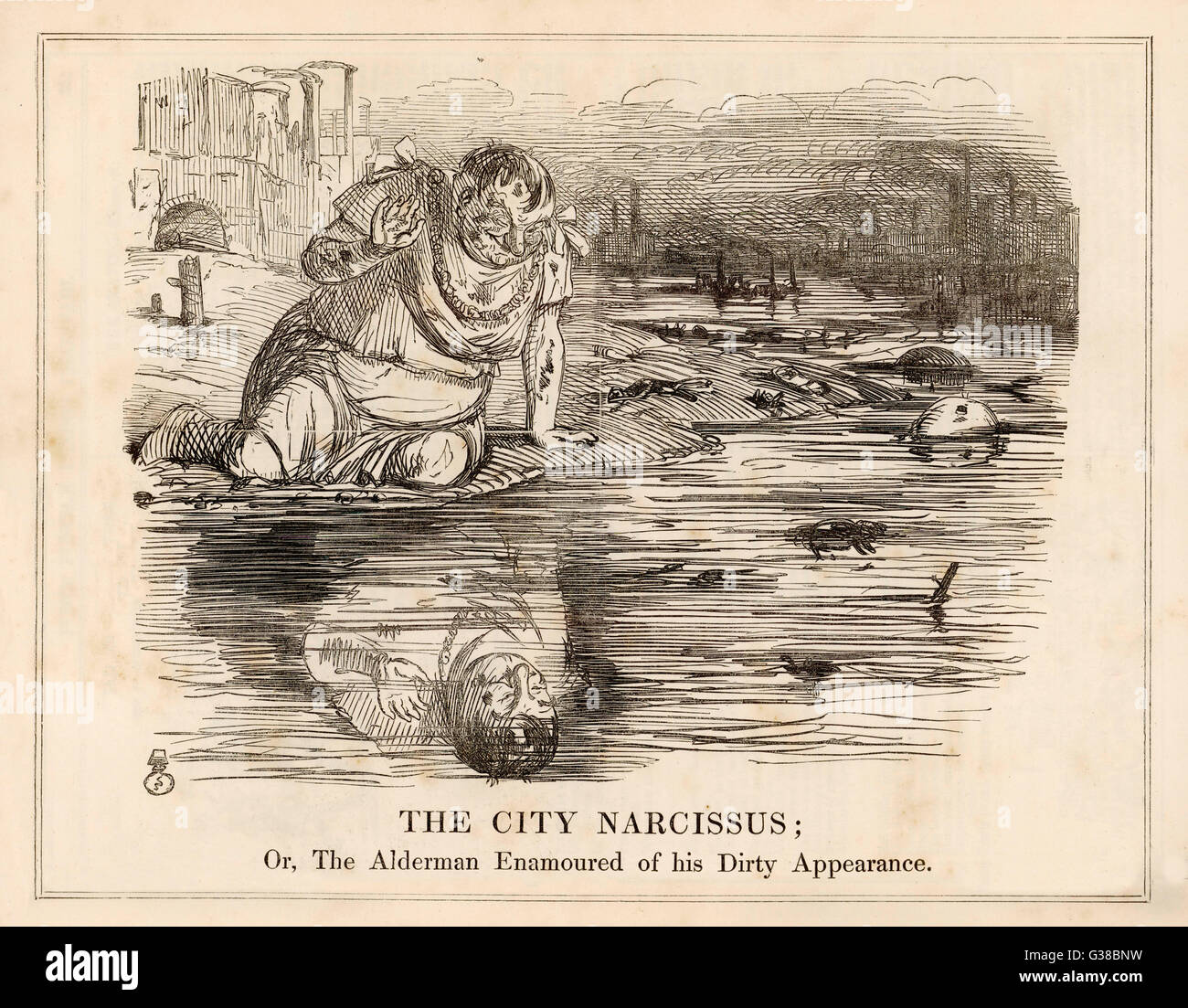 'THE CITY NARCISSUS' or, The Alderman Enamoured of  his Dirty Appearance - London's authorities are - Stock Image