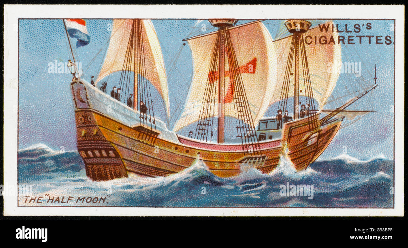 the vessel used by Henry Hudson in his explorations        Date: 1609 - Stock Image