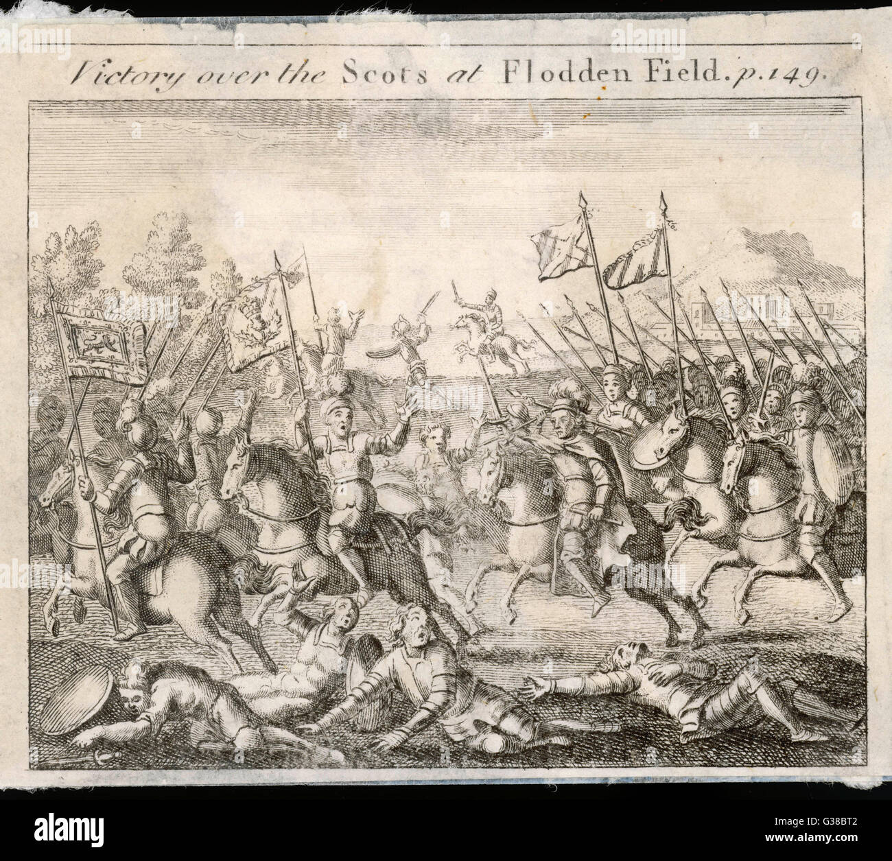 BATTLE OF FLODDEN The earl of Surrey routs the  Scots army : James IV of  Scotland and all his principal  nobles - Stock Image