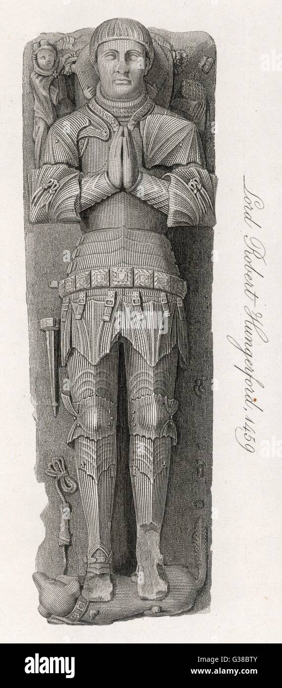 The effigy of Lord Robert  Hungerford in Salisbury Cathedral        Date: 1459 - Stock Image