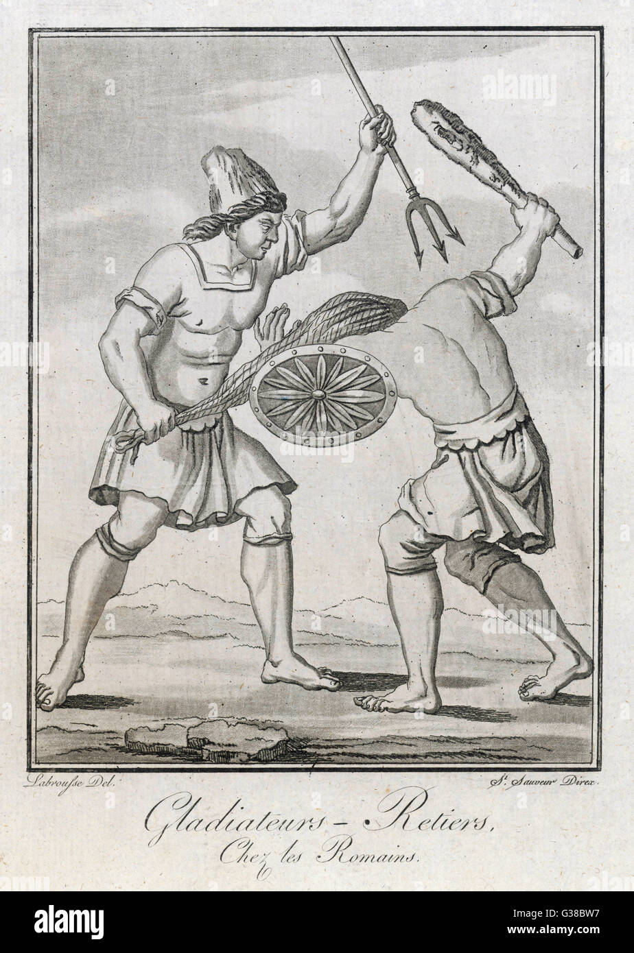 Two Roman gladiators - one  with net and trident, his  opponent with club and shield - Stock Image