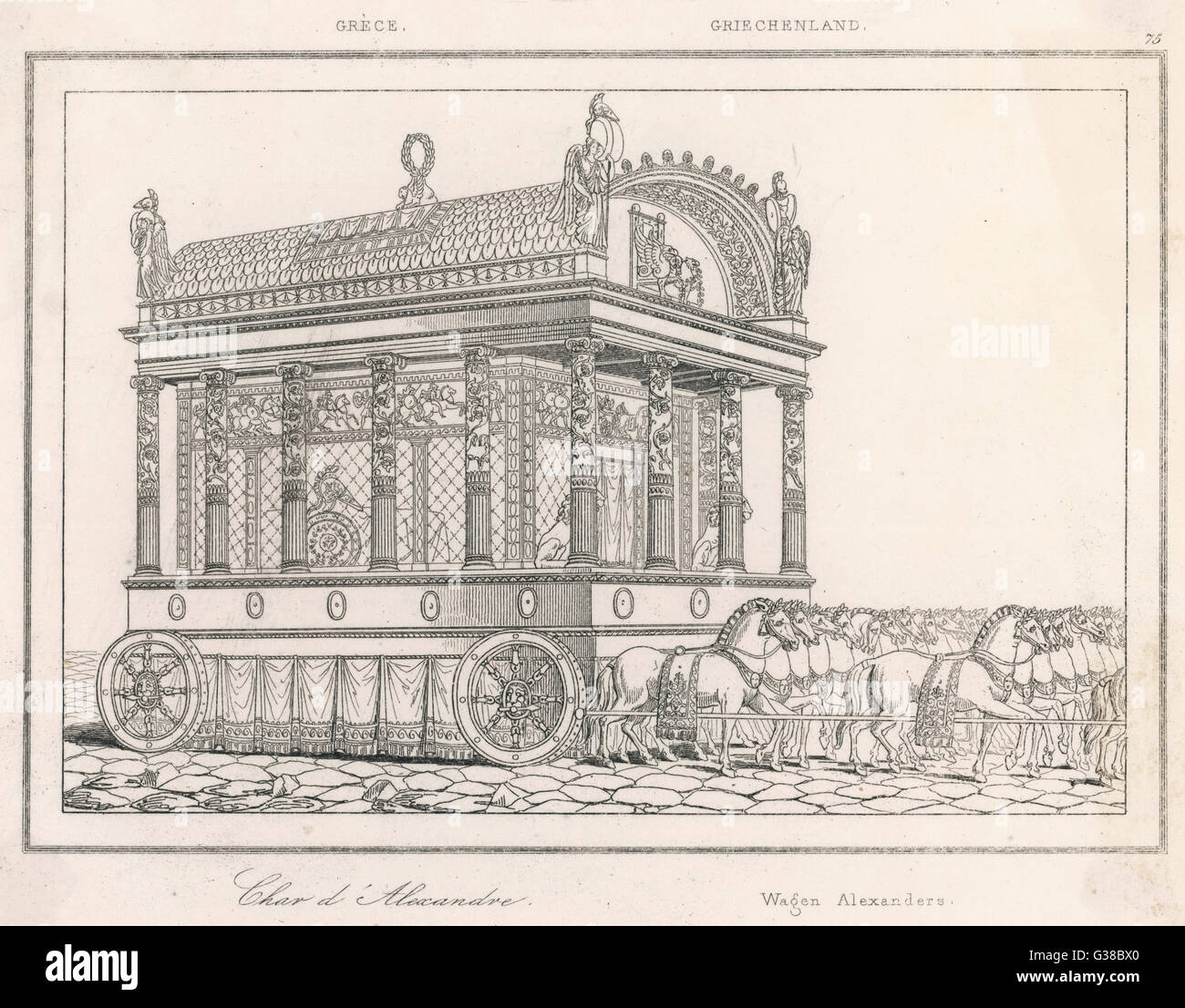 The highly ornamental but  surely somewhat impractical  carriage of Alexander the  Great      Date: 1817 - Stock Image