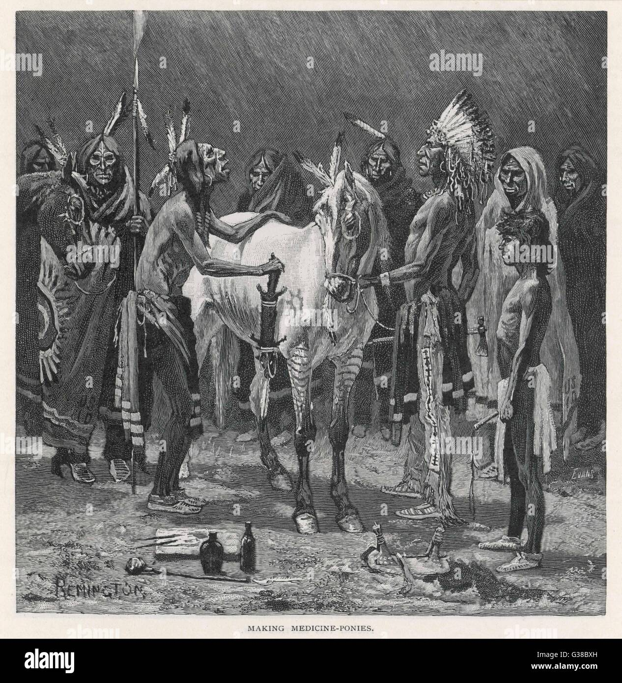 Medicine ponies of the Sioux         Date: 1890 - Stock Image
