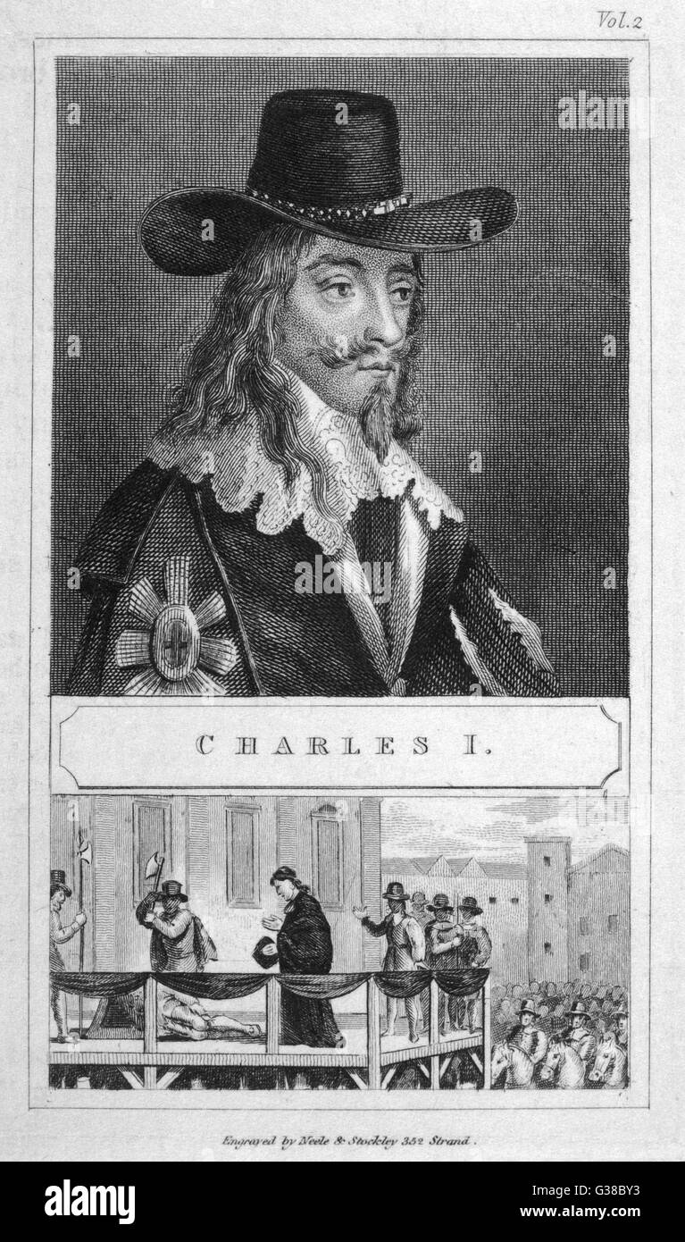 CHARLES I OF ENGLAND  Showing a half-length portrait  of the king in a black hat  above a depiction of his execution - Stock Image