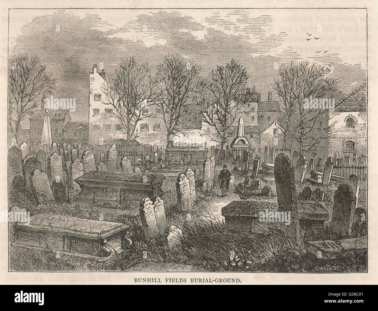 Cluttered rows of tombstones  at Bunhill Fields burial- ground, London - Stock Image