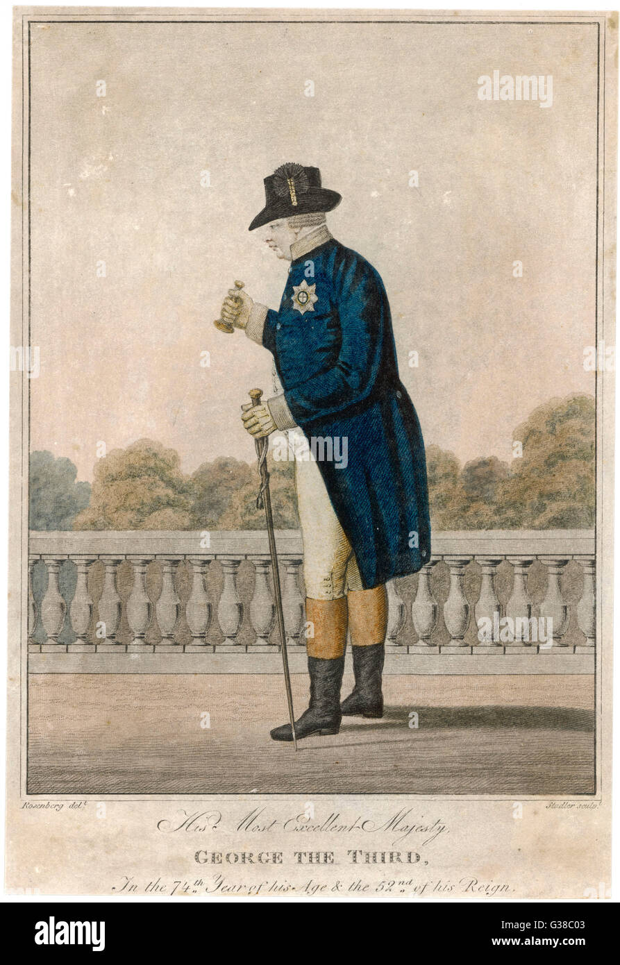 GEORGE III OF ENGLAND  His Most Excellent Majesty  George The Third, In the 74th  Year of his Age & the - Stock Image