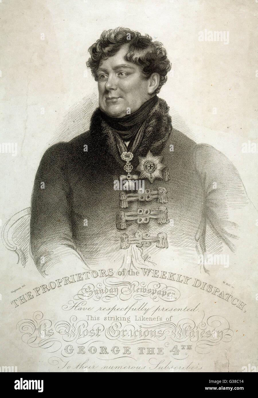 KING GEORGE IV OF ENGLAND  Half-length portrait        Date: 1762 - 1830 - Stock Image