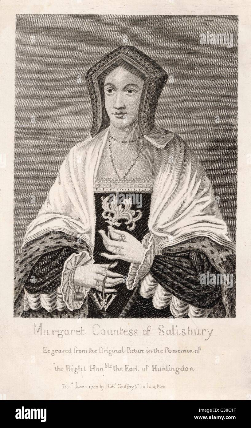 MARGARET POLE countess of  SALISBURY, mother of Cardinal  Pole, accused of conspiring  against Henry VIII and  beheaded - Stock Image