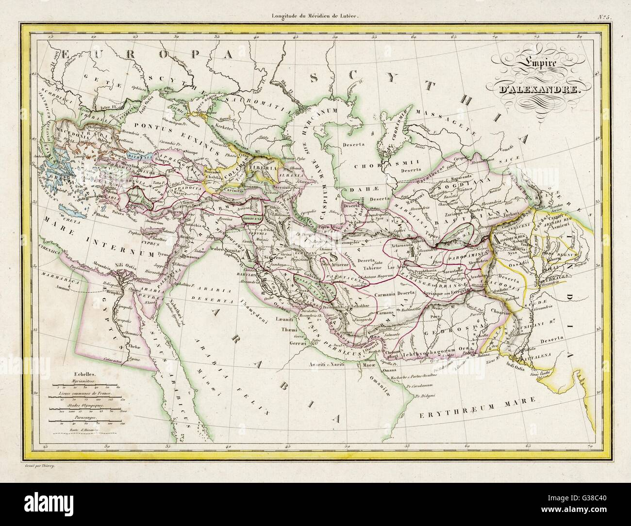 THE EMPIRE OF ALEXANDER         Date: 323 BC - Stock Image