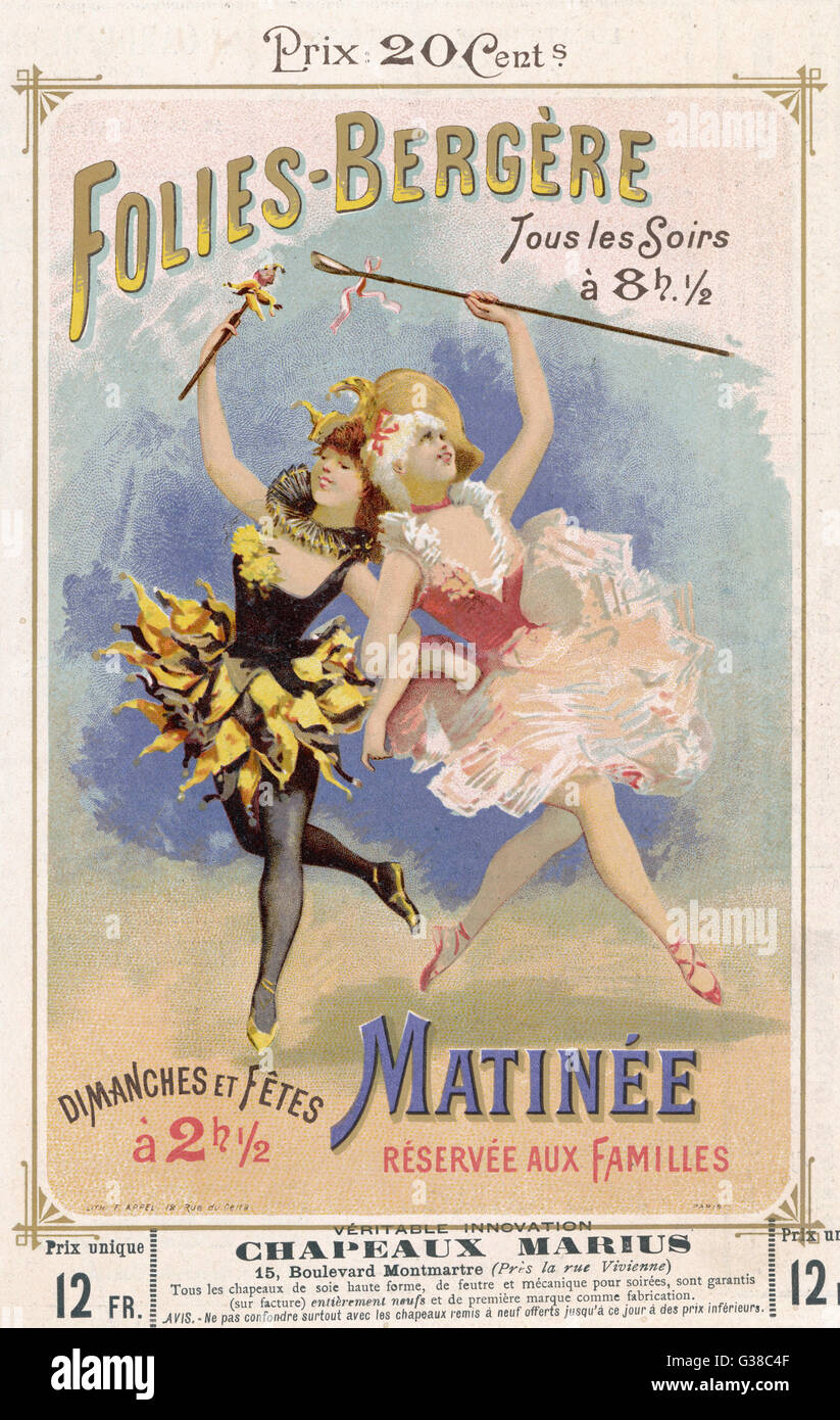 PROGRAMMES  A programme cover for the  famous Folies Bergere cabaret  in Paris.      Date: 1890s - Stock Image