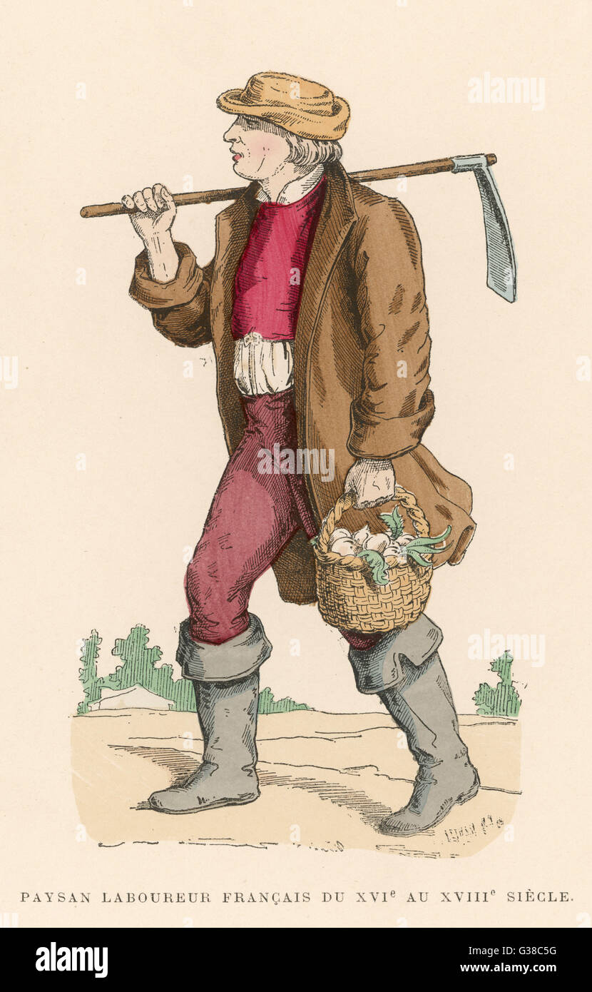 Labouring peasant returning  from the fields with a basket  of turnips       Date: 16th - 18th centuries - Stock Image