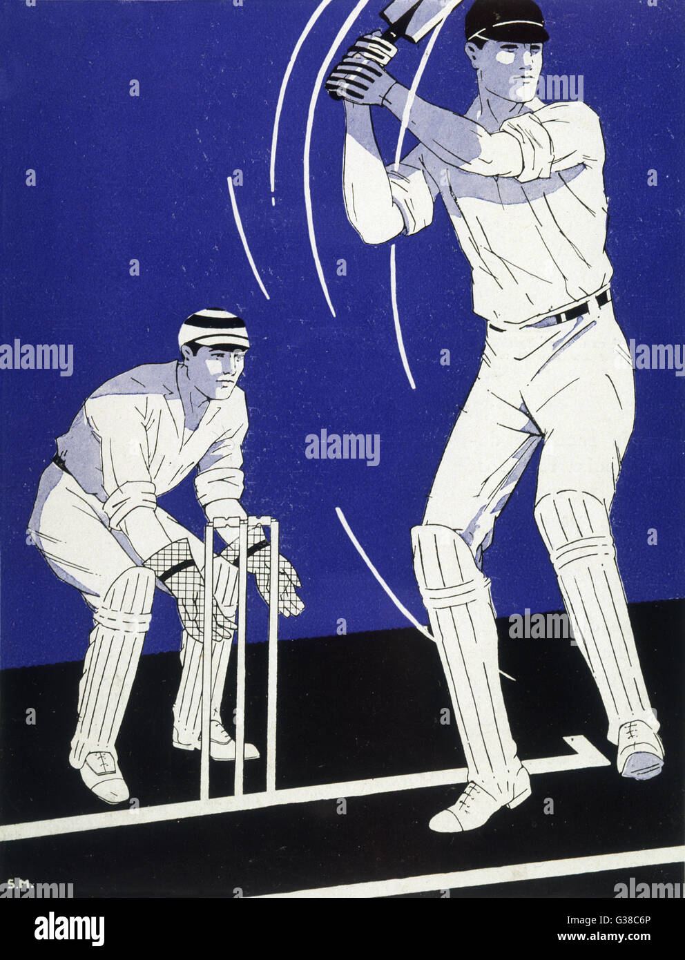 A batsman plays a stroke in  front of the wicketkeeper         Date: 1928 - Stock Image