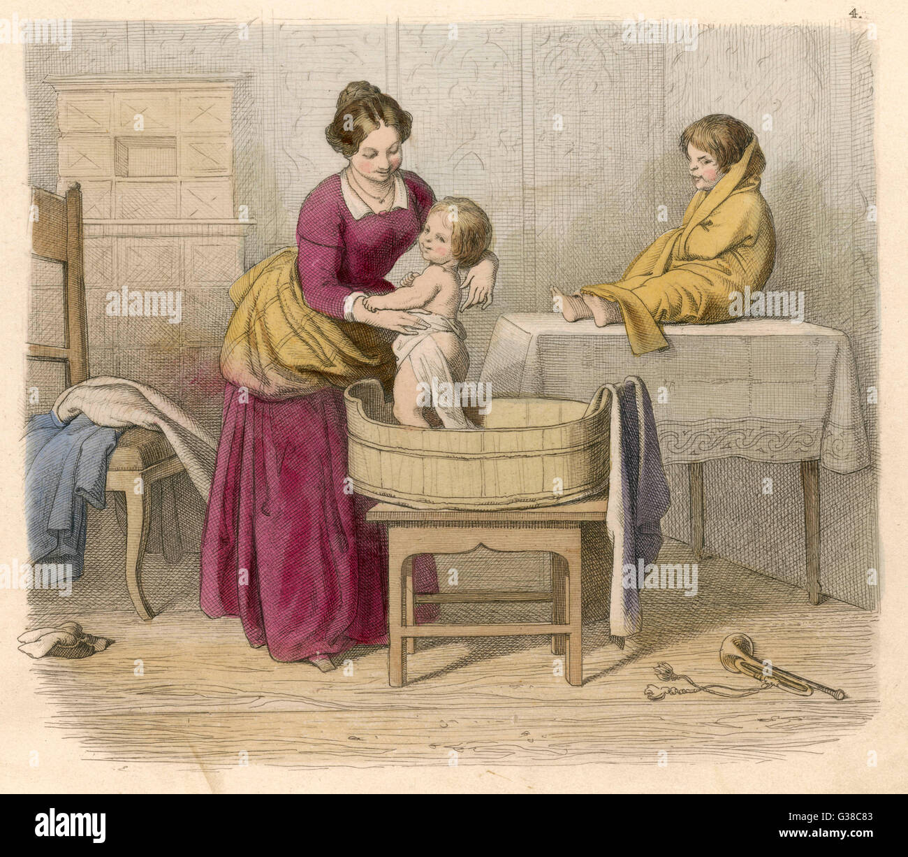 Mother bathing child          Date: 1852 - Stock Image