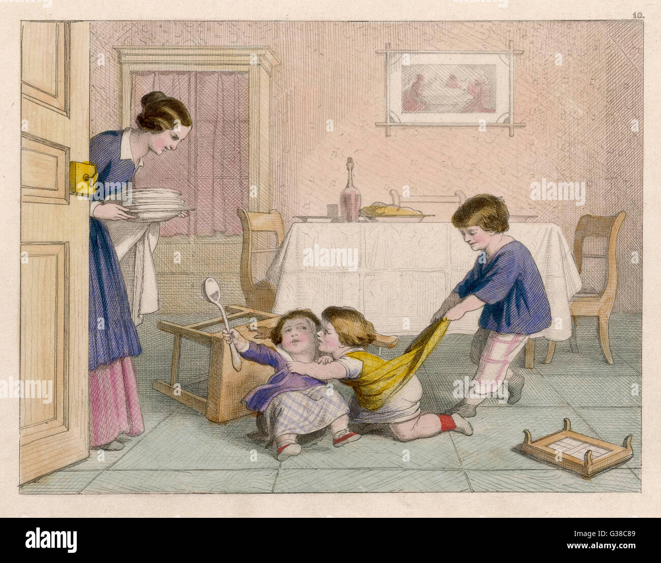Mama finds the children  quarreling         Date: 1852 - Stock Image