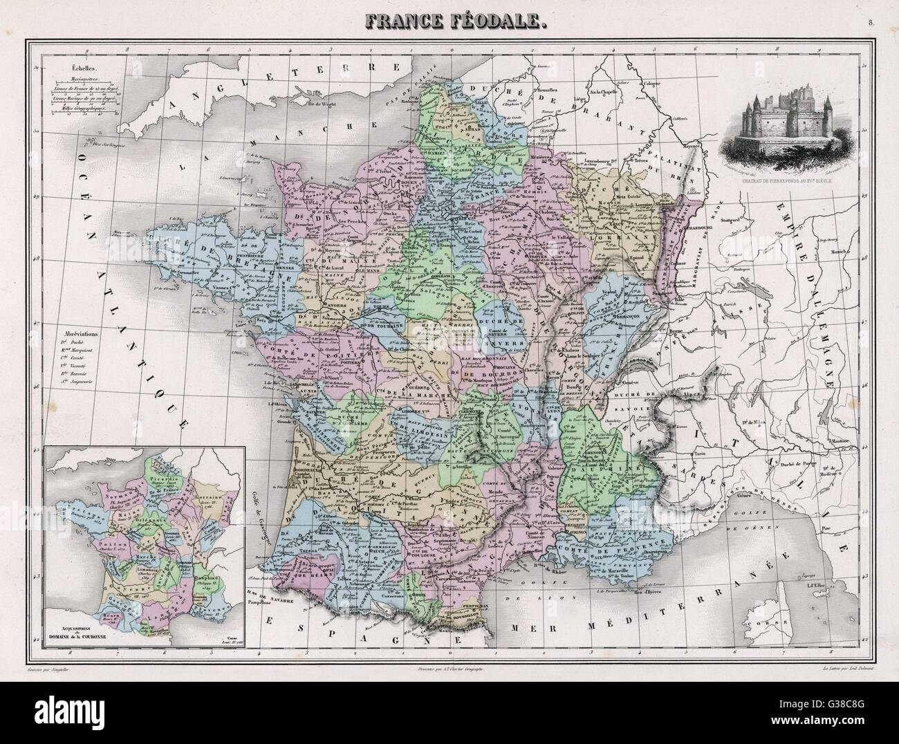 France in feudal times, with  the country allotted to  various nobles who bore more  or less allegiance to the  - Stock Image