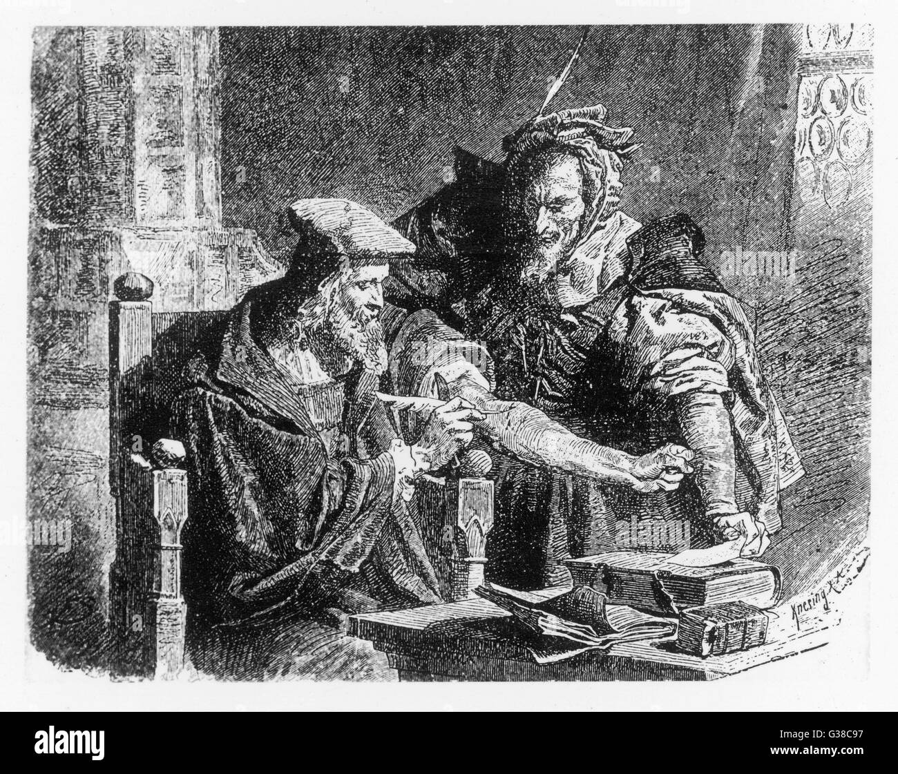 Faust making his contract  with Mephistopheles. Stock Photo