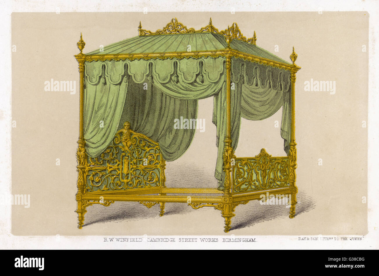 Opulent, gilt bedstead  complete with canopy, fringing  and drapery        Date: 1851 - Stock Image