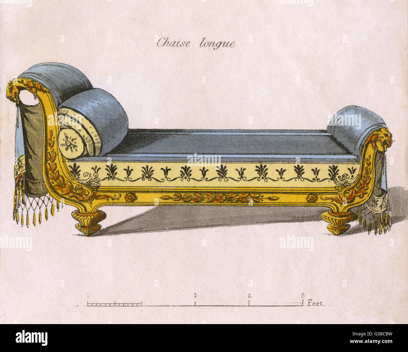 A Chaise Longue in the  Classical style         Date: 1808 - Stock Image