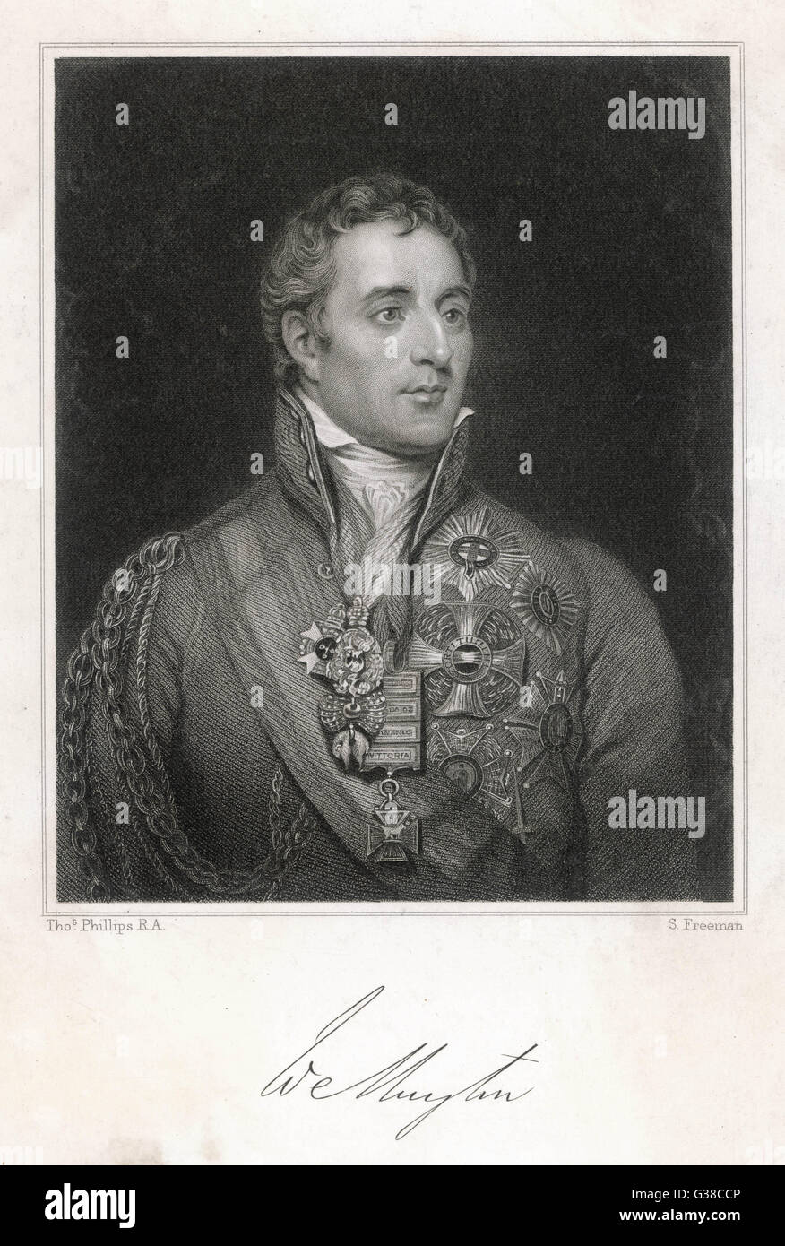DUKE OF WELLINGTON -  formal portrait, aged circa 40        Date: 1769 - 1852 - Stock Image