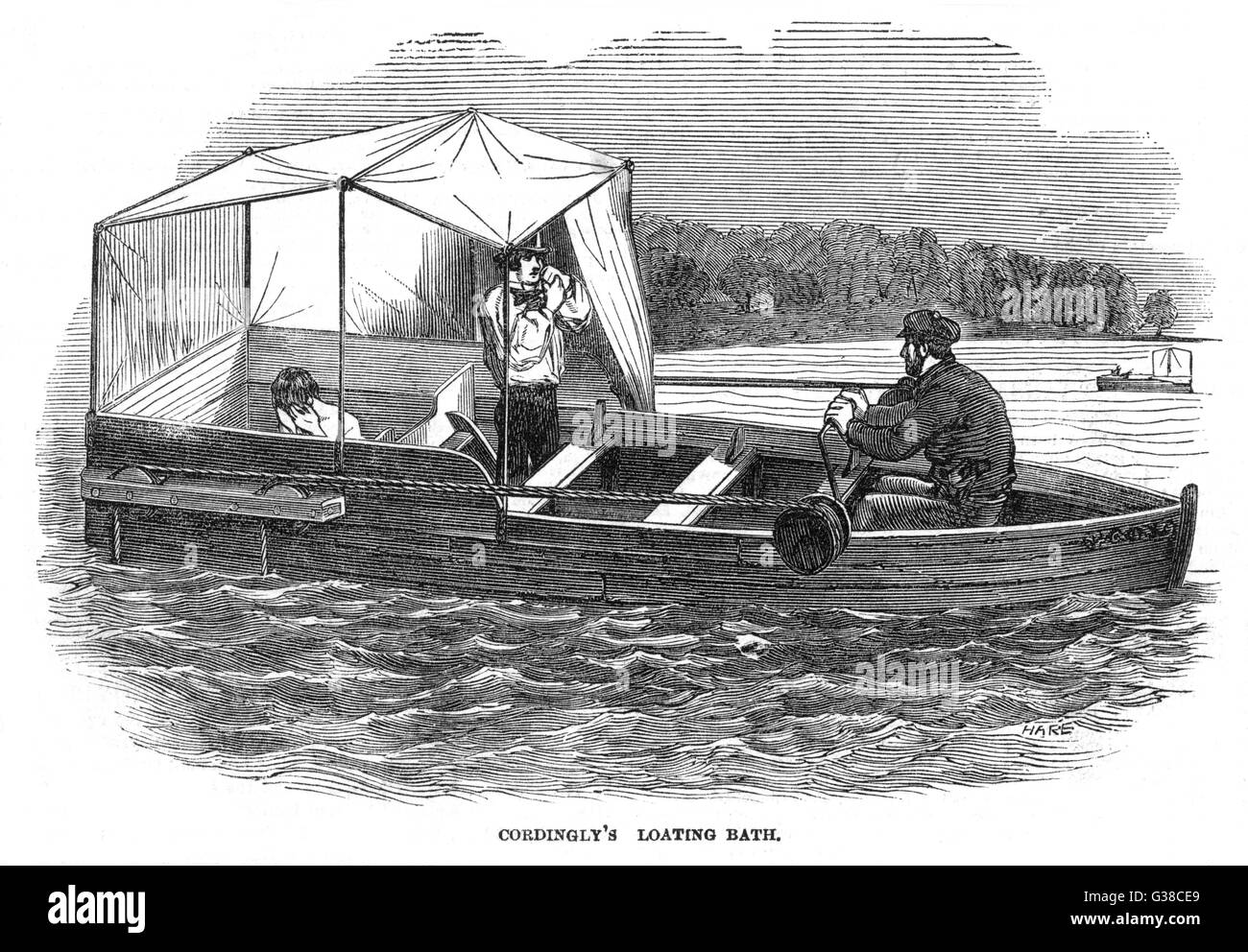 Cordingly's floating bath  which appears to be floating  in open water.        Date: 1850 - Stock Image