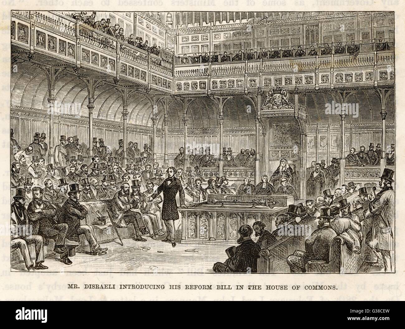Disraeli introduces his Reform  Bill which would add more than  one million voters to the  electorate.      Date: - Stock Image