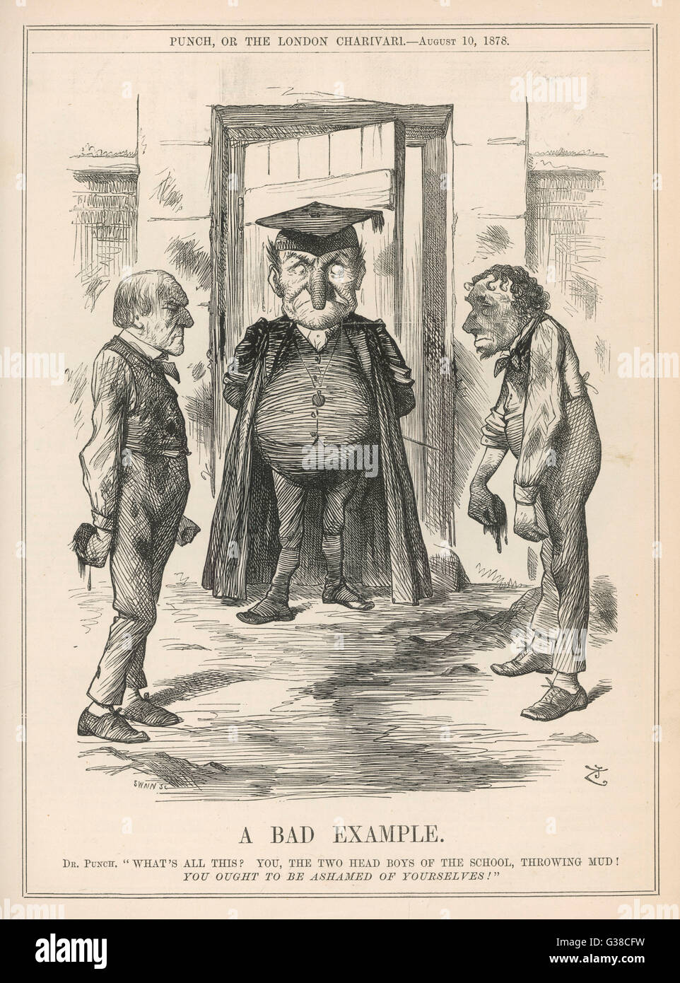 'A Bad Example'  Disraeli and Gladstone at  loggerheads       Date: 1878 - Stock Image