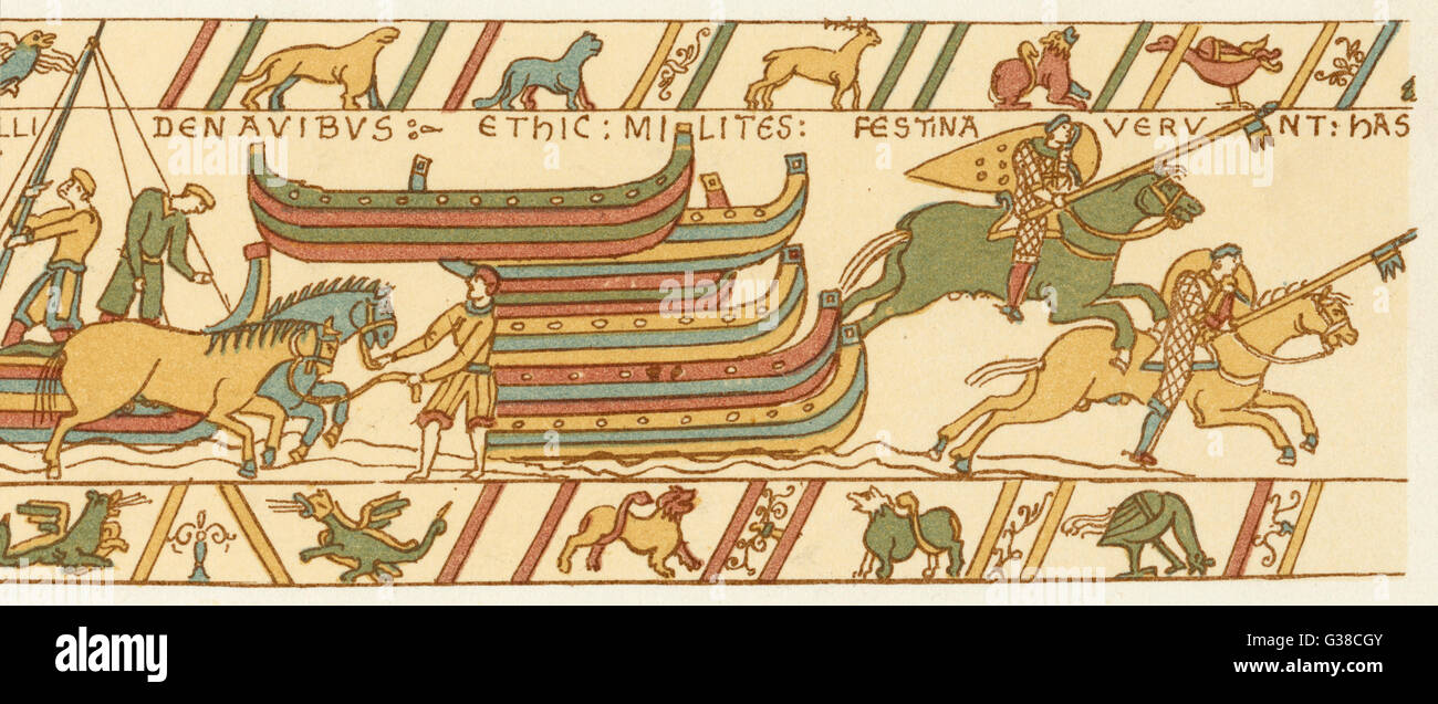 The landing of William's  cavalry         Date: September 1066 - Stock Image
