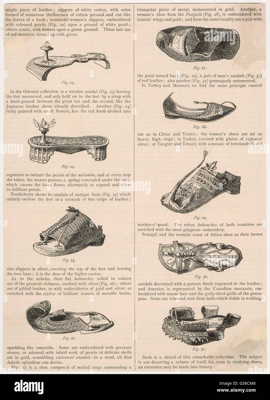 Various styles of shoe from  the Orient and the Americas - Stock Image