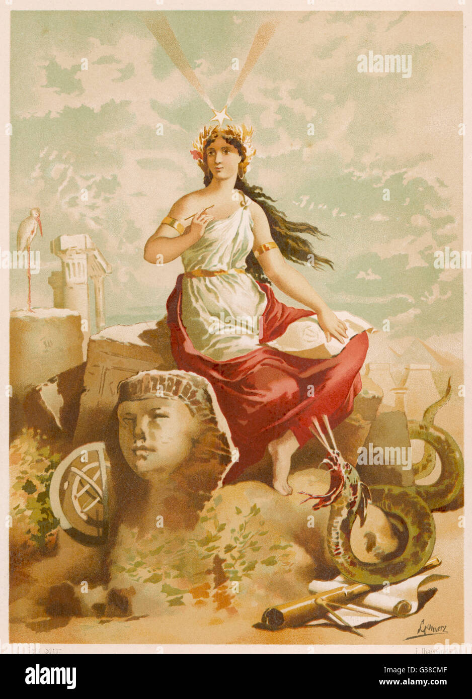 depicted as patroness of the  arts and sciences, including  those of magic - Stock Image