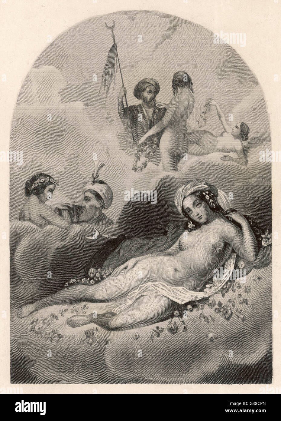Paradise, as promised to  faithful Moslems, is chiefly  noted for its HOURIS - a  species of affable nymphs     - Stock Image