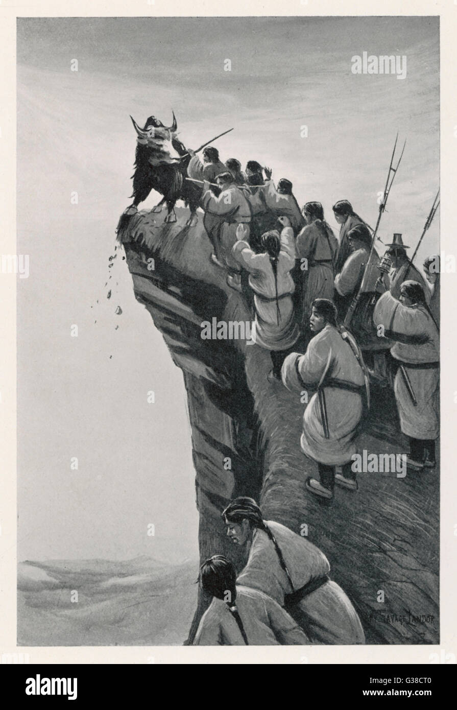 Tibetans sacrificing a yak :  at the death of a tribesman  the animal is precipitated  from a high cliff on which - Stock Image