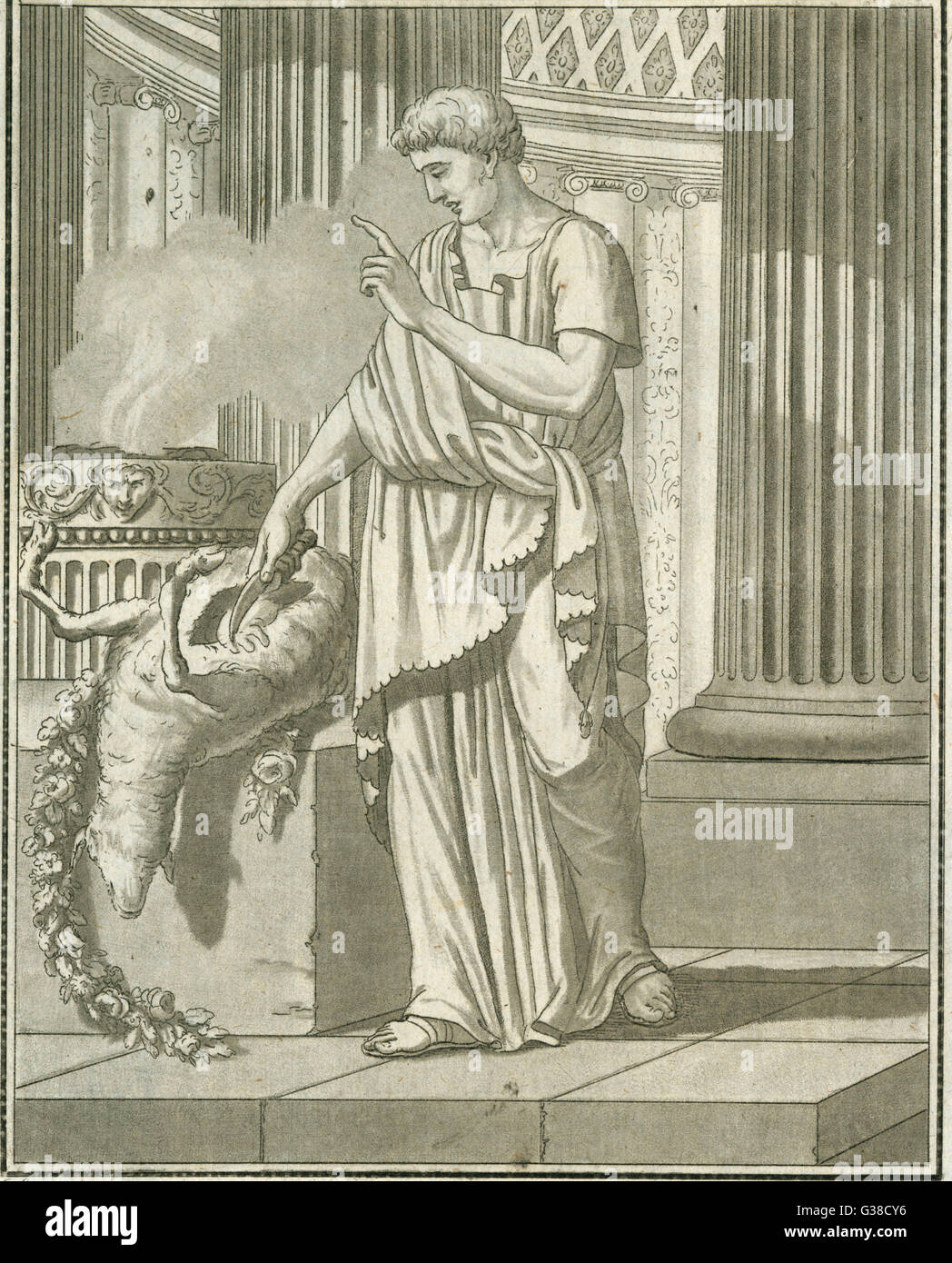 A Roman HARUSPEX examines the  entrails of a sheep for any  indications the gods may have  left there as to the - Stock Image