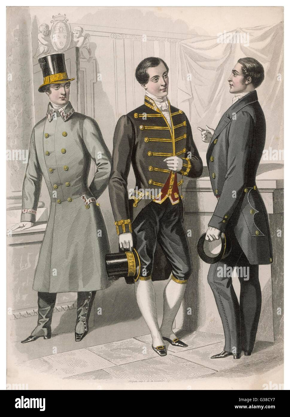 French menservants in outdoor  and indoor livery: top hat  with cockade, braided cutaway  coat with stand collar, - Stock Image