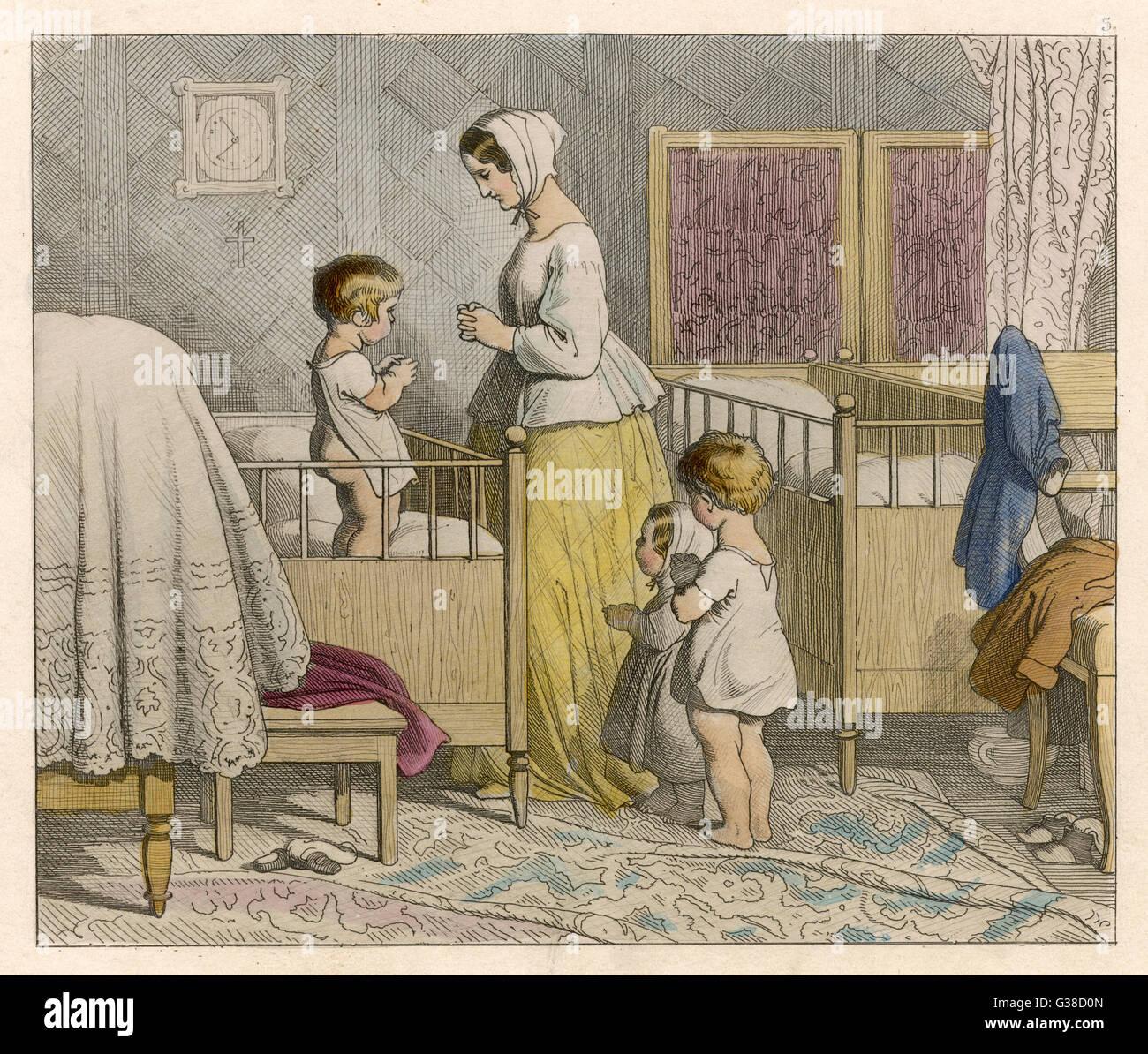 'BABY'S PRAYERS'         Date: 1852 - Stock Image