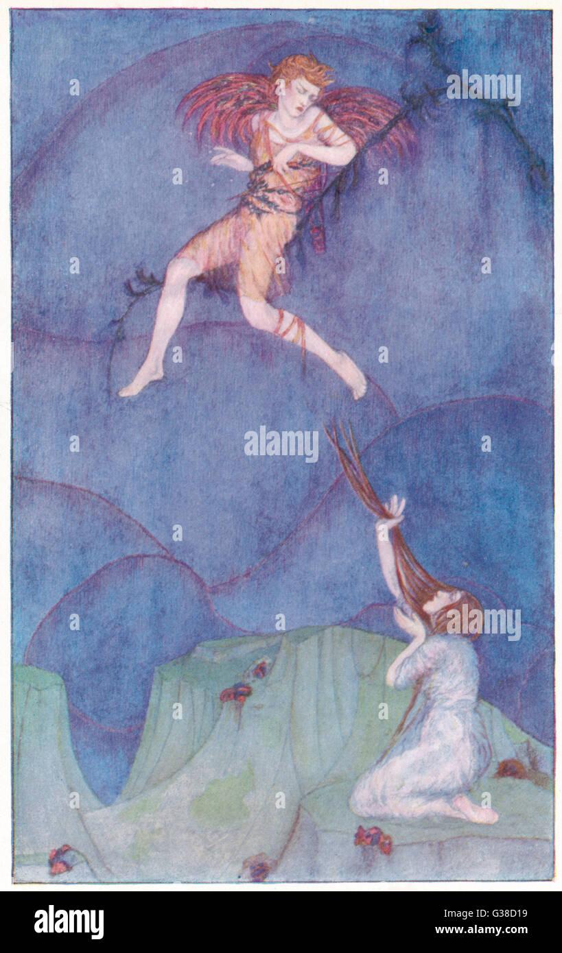 Eros/Cupid on the cypress tree - Stock Image